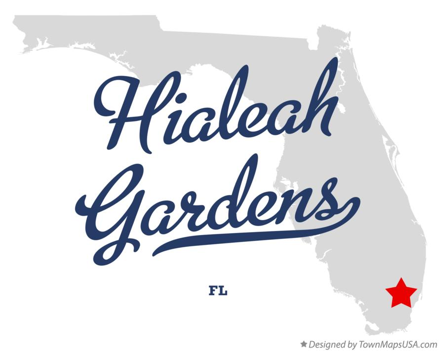Map of Hialeah Gardens Florida FL