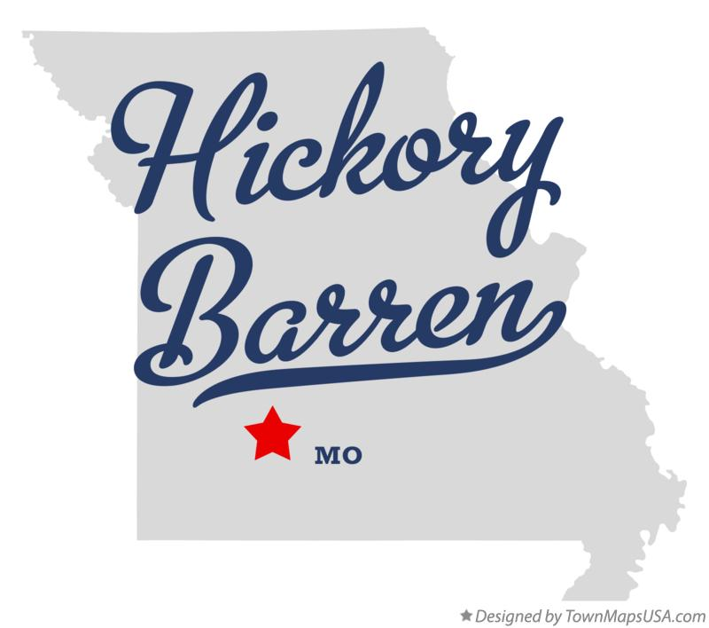 Map of Hickory Barren Missouri MO