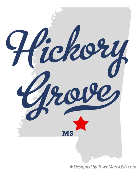 Map of Hickory Grove Mississippi MS