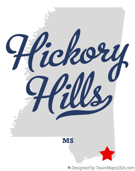 Map of Hickory Hills Mississippi MS