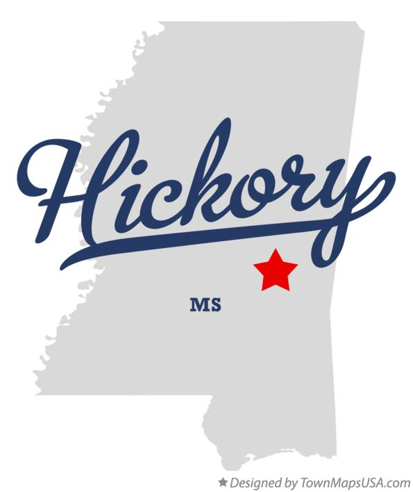 Map of Hickory Mississippi MS
