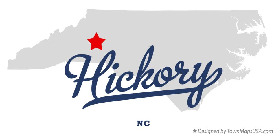 North carolina map hickory nc