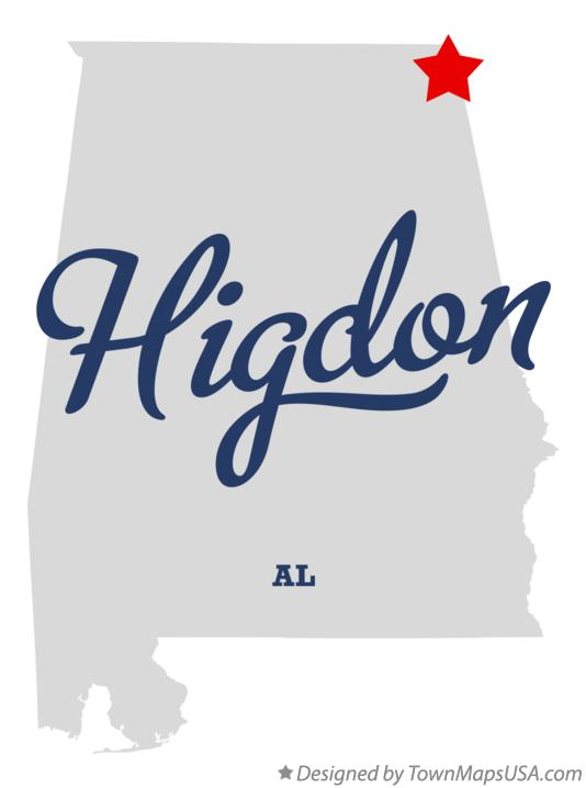 Map of Higdon Alabama AL