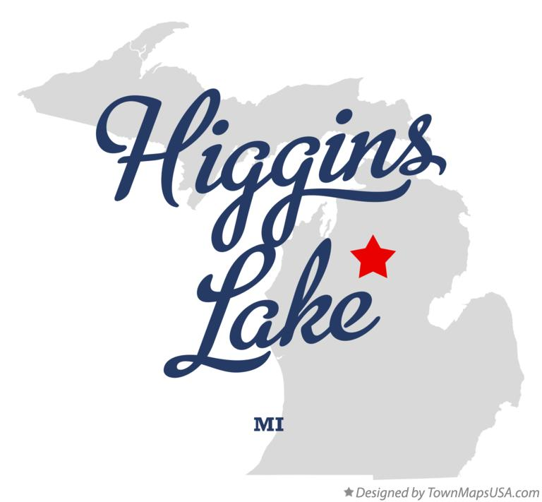 Map of Higgins Lake Michigan MI