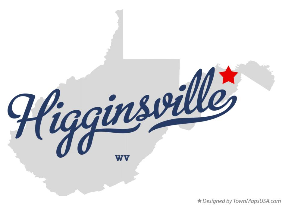 Map of Higginsville West Virginia WV
