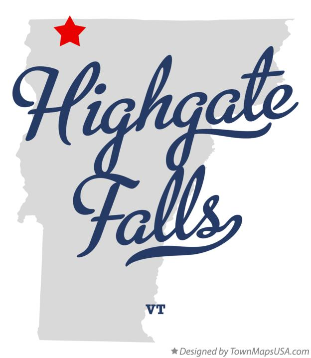Map of Highgate Falls Vermont VT