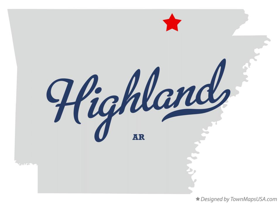 Map of Highland Arkansas AR