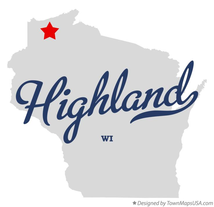 Map of Highland Wisconsin WI