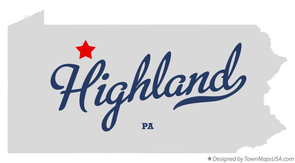 Map of Highland Pennsylvania PA