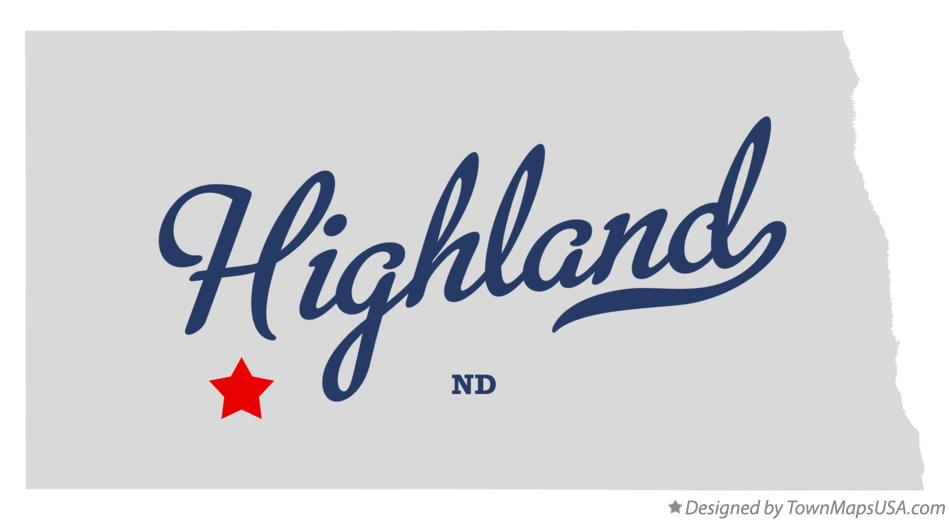 Map of Highland North Dakota ND