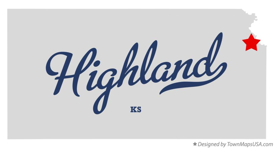 Map of Highland Kansas KS