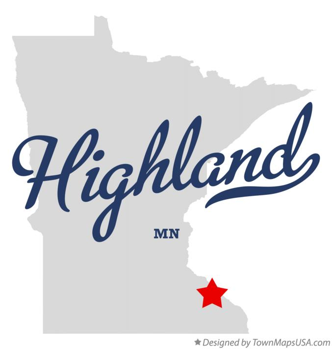 Map of Highland Minnesota MN