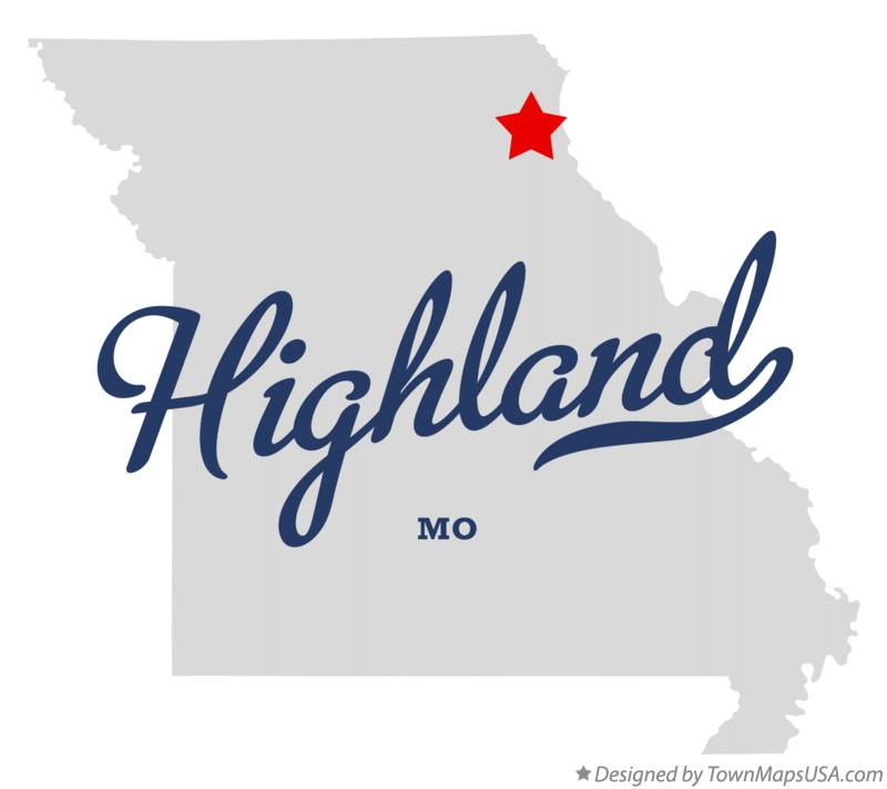 Map of Highland Missouri MO
