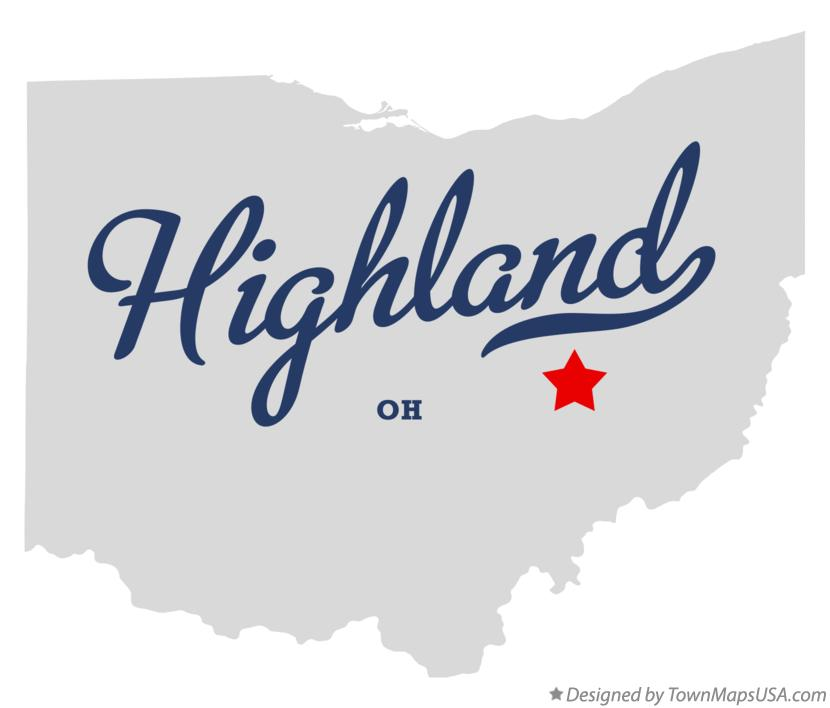 Map of Highland Ohio OH