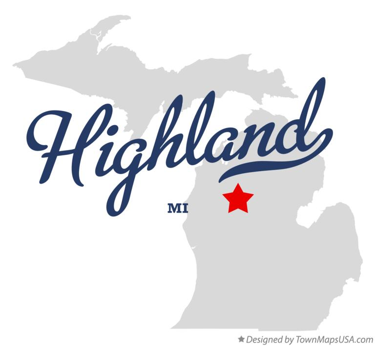 Map of Highland Michigan MI