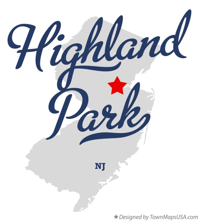 Map of Highland Park New Jersey NJ