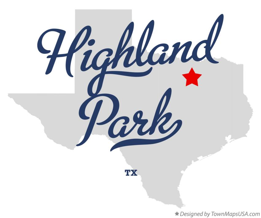 Map of Highland Park Texas TX