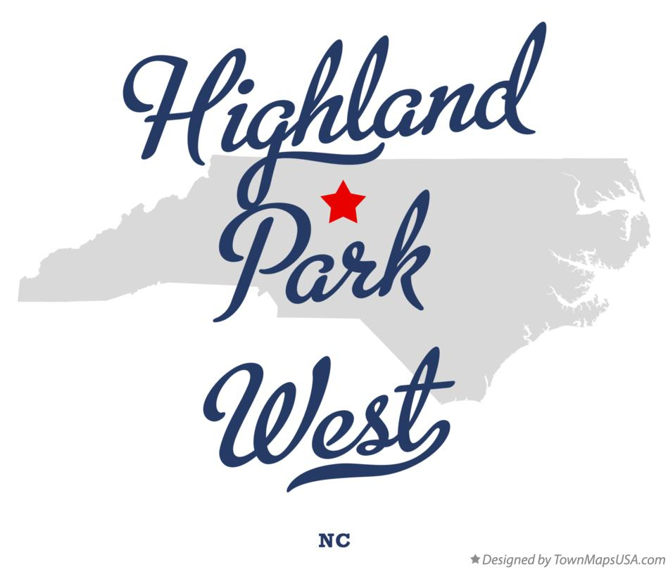 Map of Highland Park West North Carolina NC