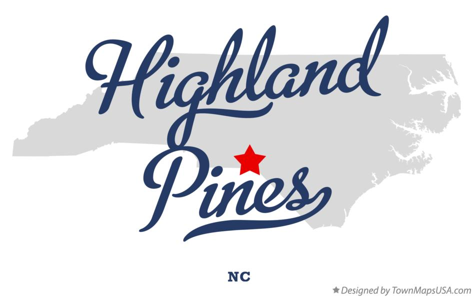 Map of Highland Pines North Carolina NC