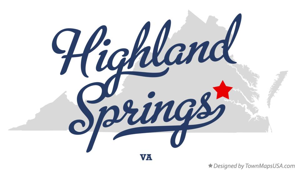 Map of Highland Springs Virginia VA