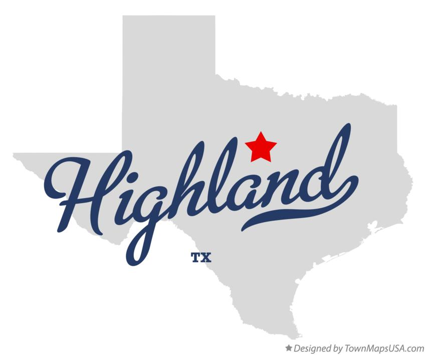 Map of Highland Texas TX