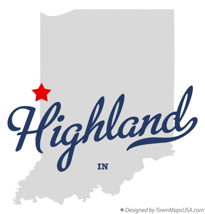 Map of Highland Indiana IN