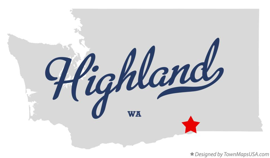 Map of Highland Washington WA