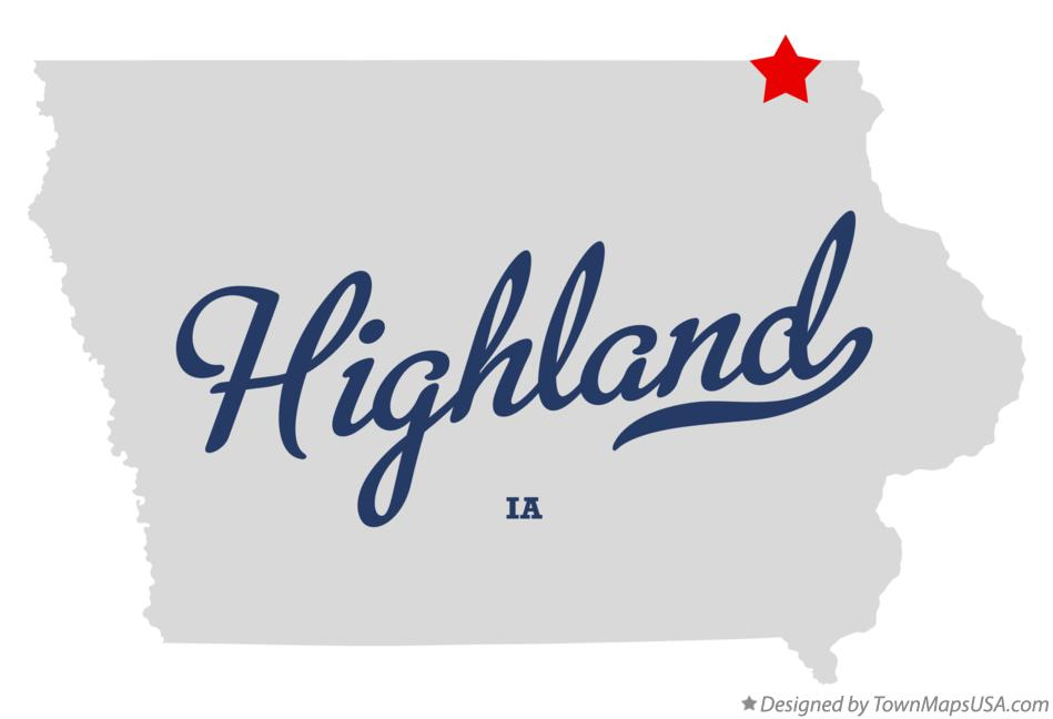 Map of Highland Iowa IA