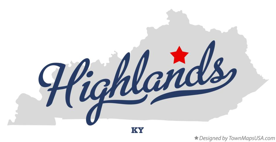 Map of Highlands Kentucky KY