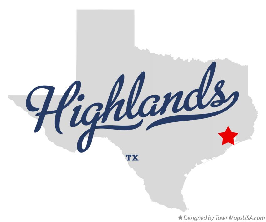 Map of Highlands Texas TX
