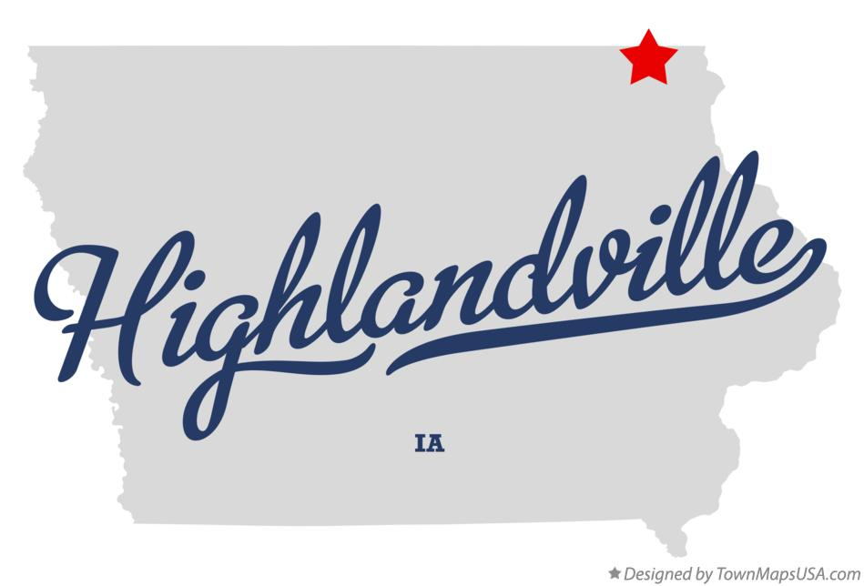 Map of Highlandville Iowa IA