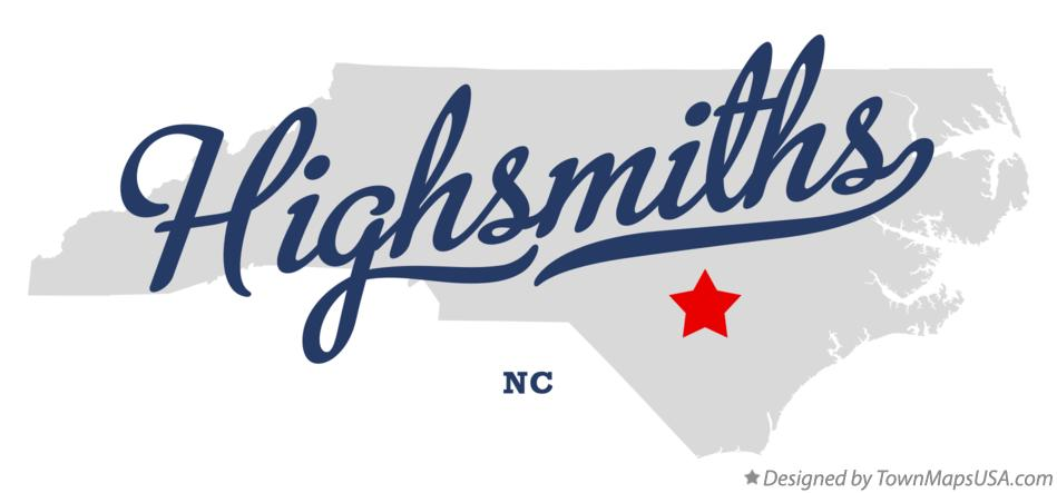 Map of Highsmiths North Carolina NC