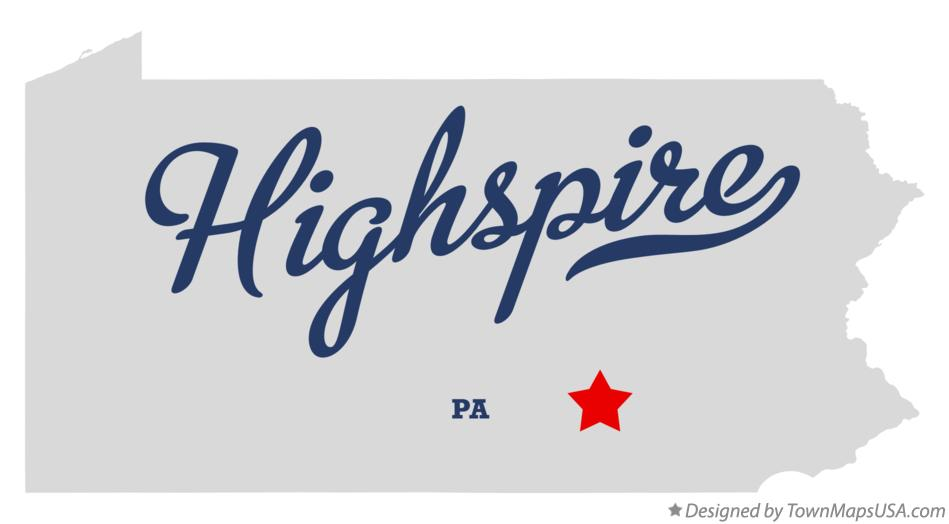 Map of Highspire Pennsylvania PA