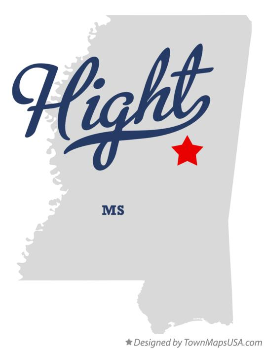 Map of Hight Mississippi MS