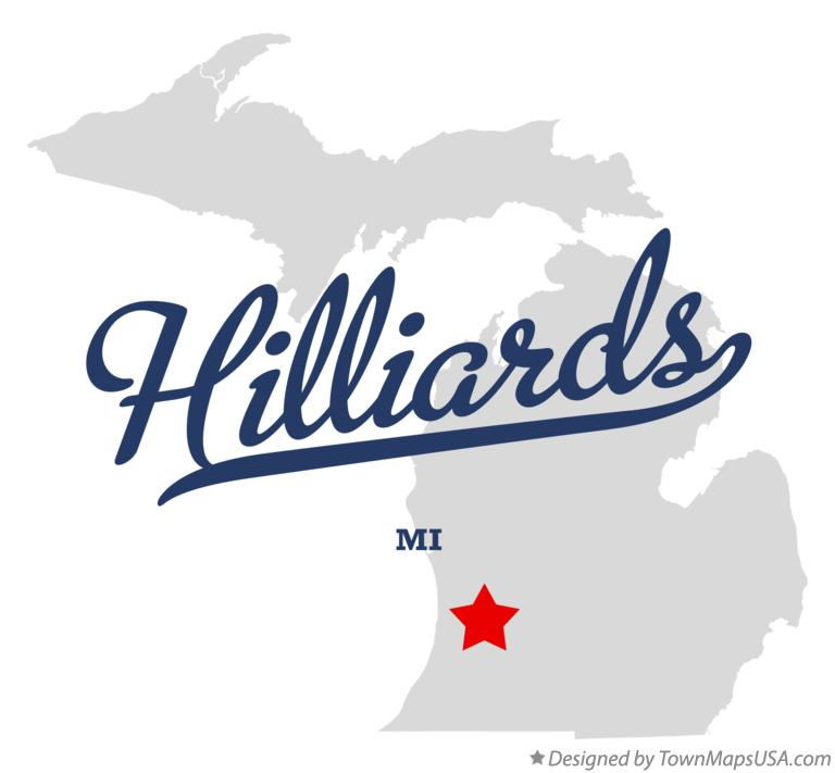 Map of Hilliards Michigan MI