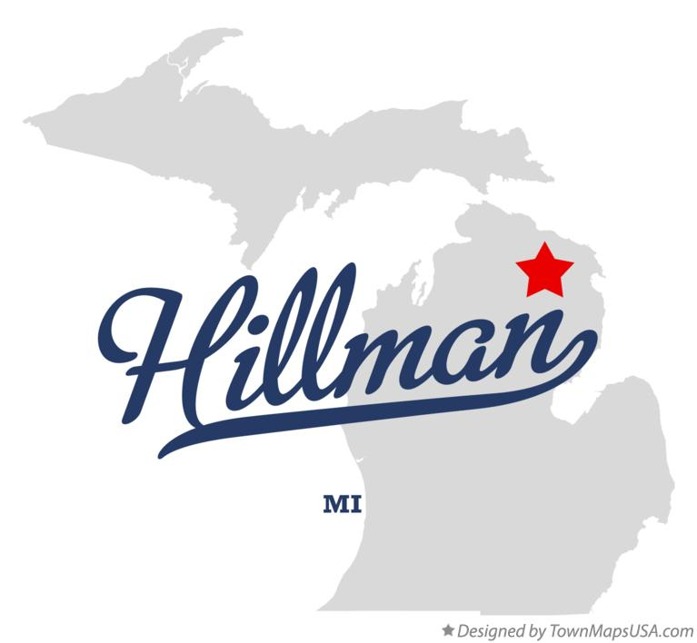 Map of Hillman Michigan MI