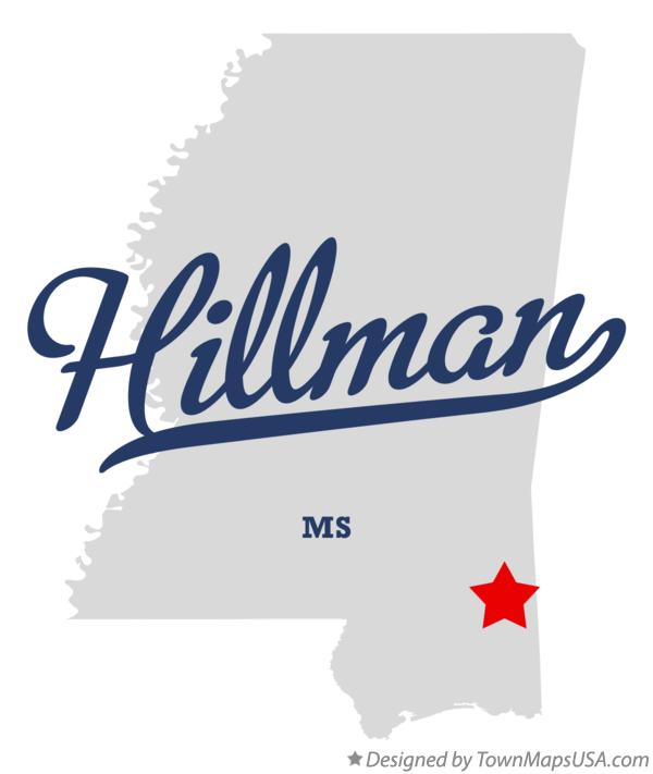 Map of Hillman Mississippi MS