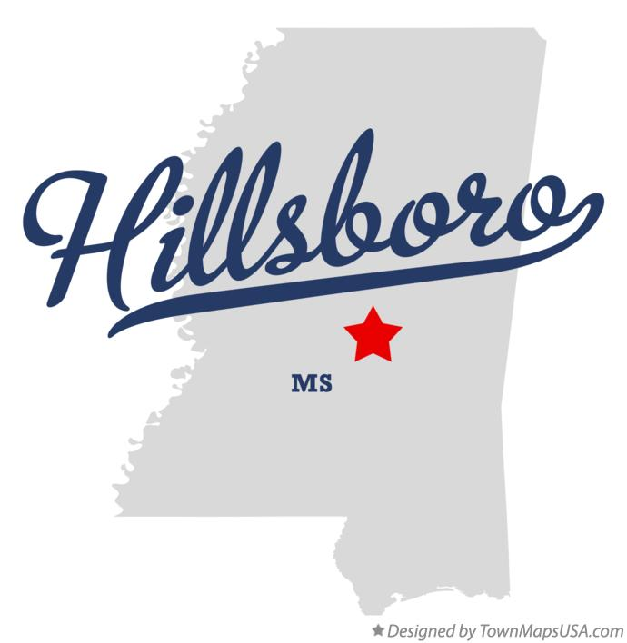 Map of Hillsboro Mississippi MS