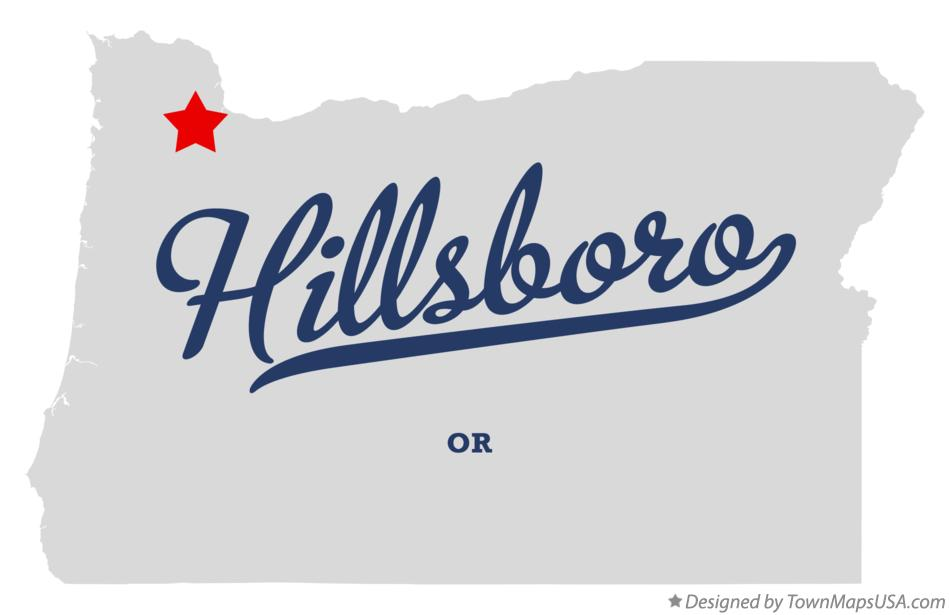 Map of Hillsboro Oregon OR