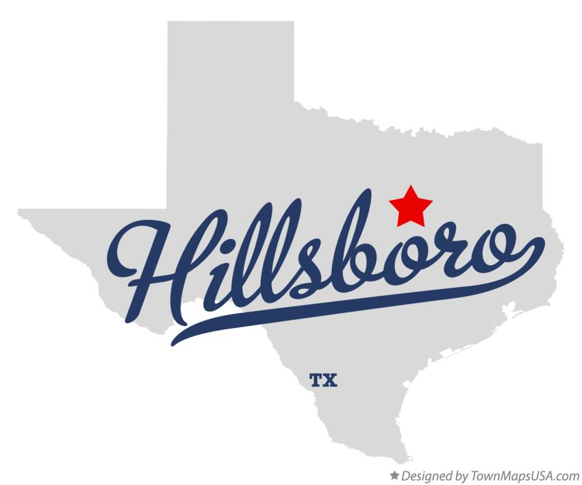 Map of Hillsboro Texas TX