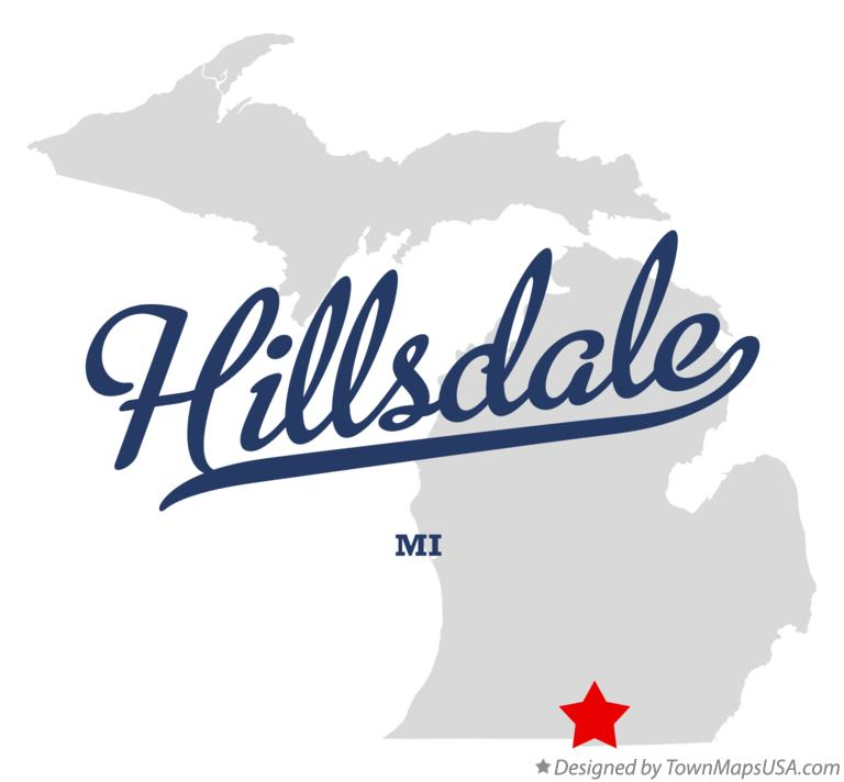 Map of Hillsdale Michigan MI