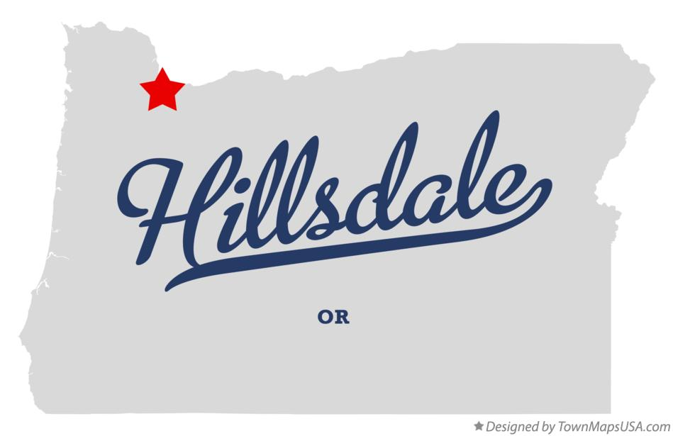 Map of Hillsdale Oregon OR