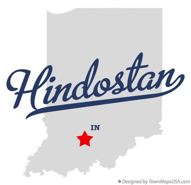 Map of Hindostan Indiana IN