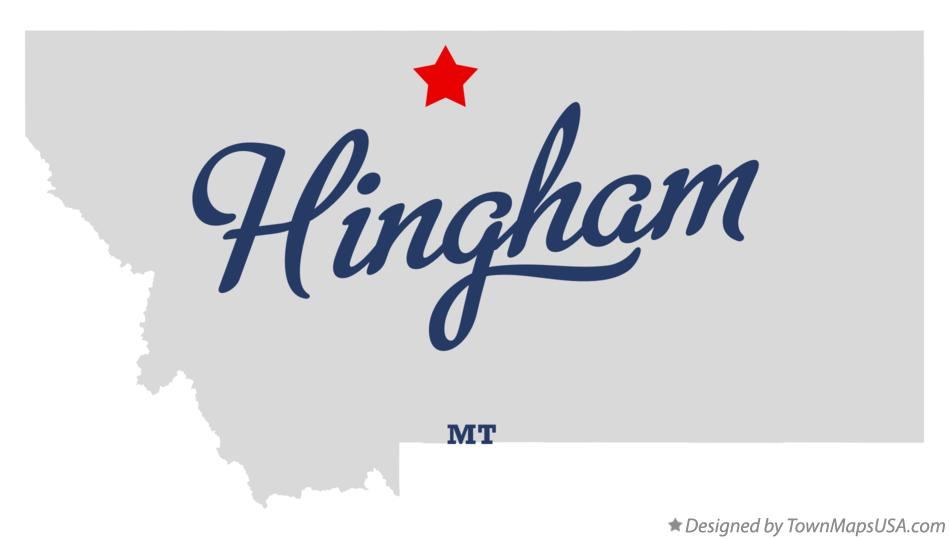 Map of Hingham Montana MT