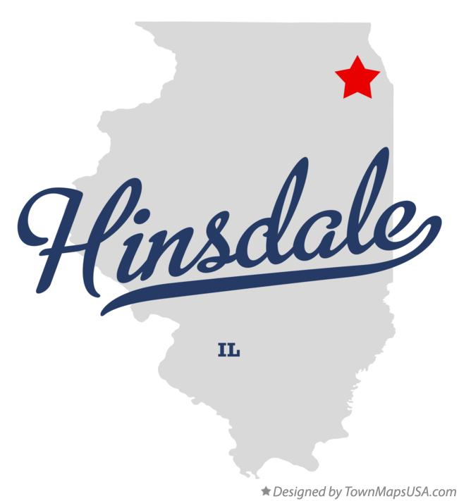 Map of Hinsdale Illinois IL