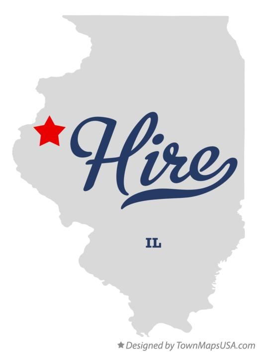 Map of Hire Illinois IL