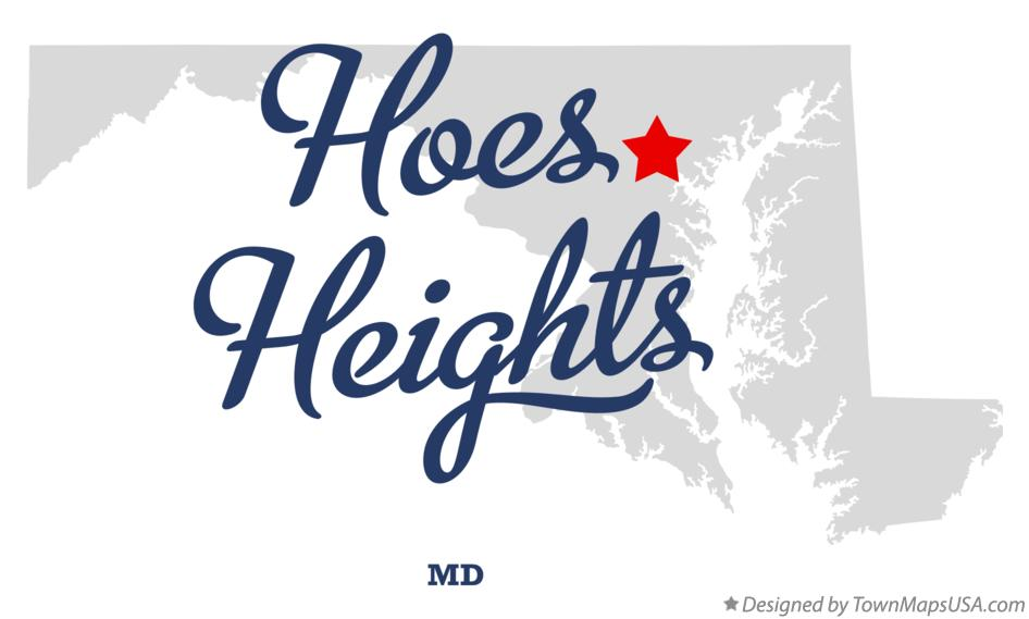 Map of Hoes Heights Maryland MD
