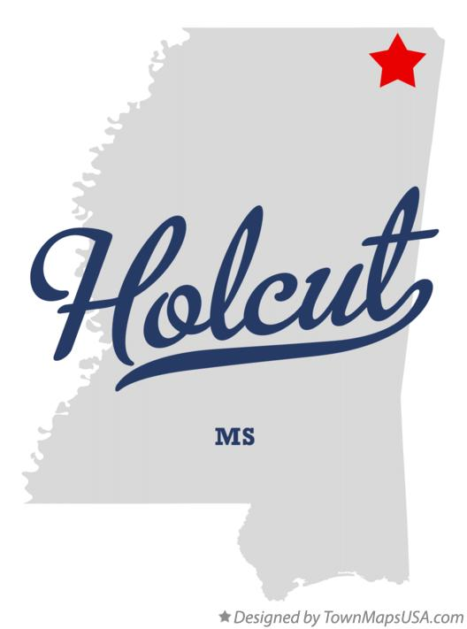 Map of Holcut Mississippi MS