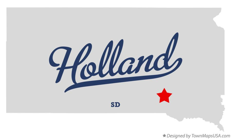 Map of Holland South Dakota SD