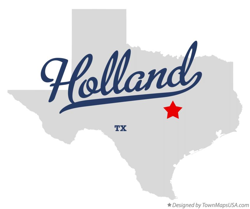 Map of Holland Texas TX